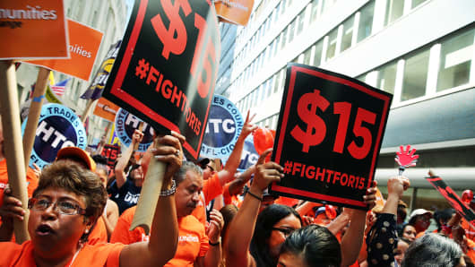 A rally for a $15 minimum hourly wage in New York City in 2015. The city raised its minimum wage to $15 in 2018, while New York State raised its minimum wage to $11.80 in December 2019, and that will increase statewide at the end of 2020 to $12.50.
