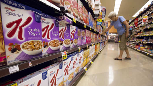 Various types of Kellogg's cereals at a Ralphs grocery store in Pasadena, California.