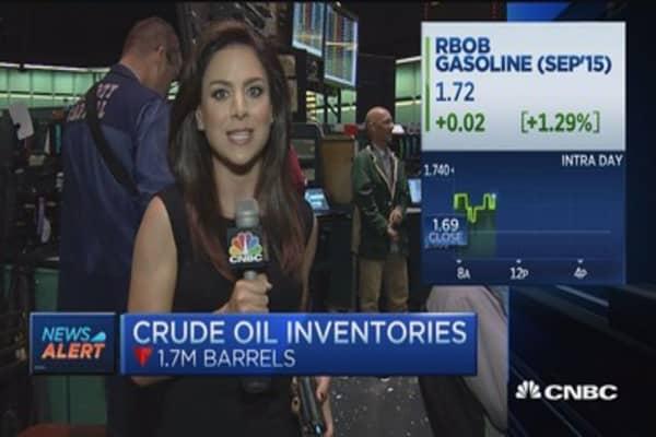 Crude oil inventories down 1.7 million barrels