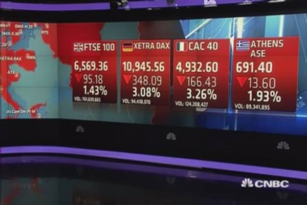 Europe ends sharply lower on China's intervention