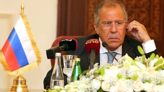 Russia's Foreign Minister Sergey Lavrov at a press conference in Qatar earlier this month.