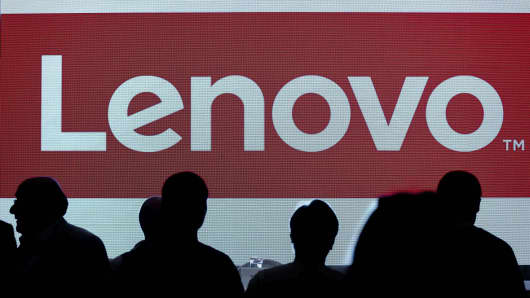 The Lenovo logo is displayed on a screen at a press conference in Hong Kong, May 21, 2015.