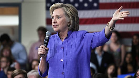 Hillary Clinton at a town meeting event at Exeter High School in Exeter, N.H. on Aug. 10, 2015.