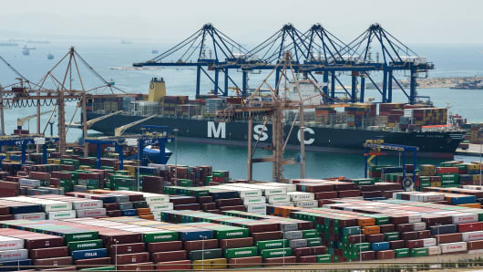 A view of the cargo terminal of the Piraeus port near in Athens, Greece.