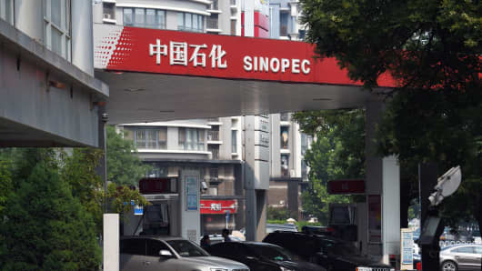A Sinopec service station in Beijing on July 8, 2015.