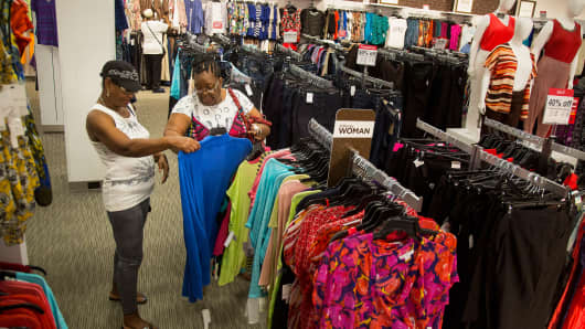 Customers browse clothing at a J.C. Penney store in Brooklyn, New York.