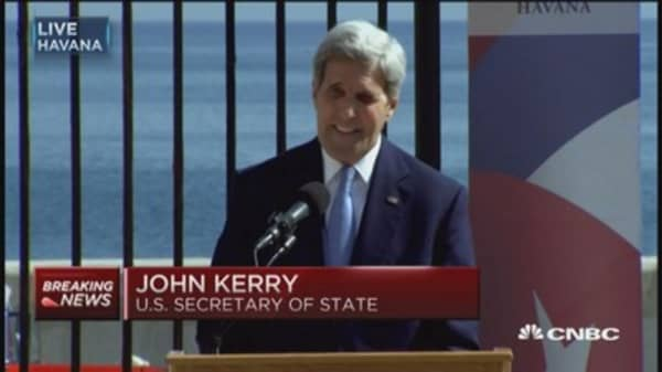Sec. Kerry: I feel very much at home at US embassy in Cuba
