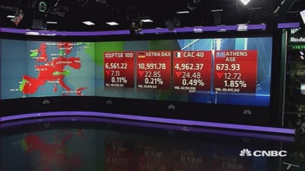 Europe closes lower; Greece, oil, in focus