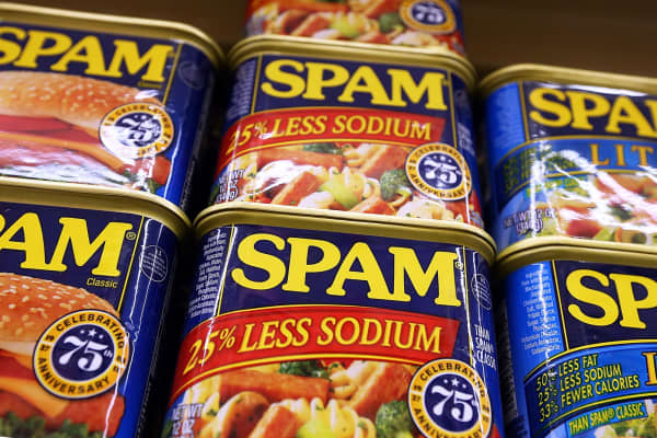 Cans of Spam, by Hormel, are displayed on a shelf at Cal Mart grocery store in San Francisco.