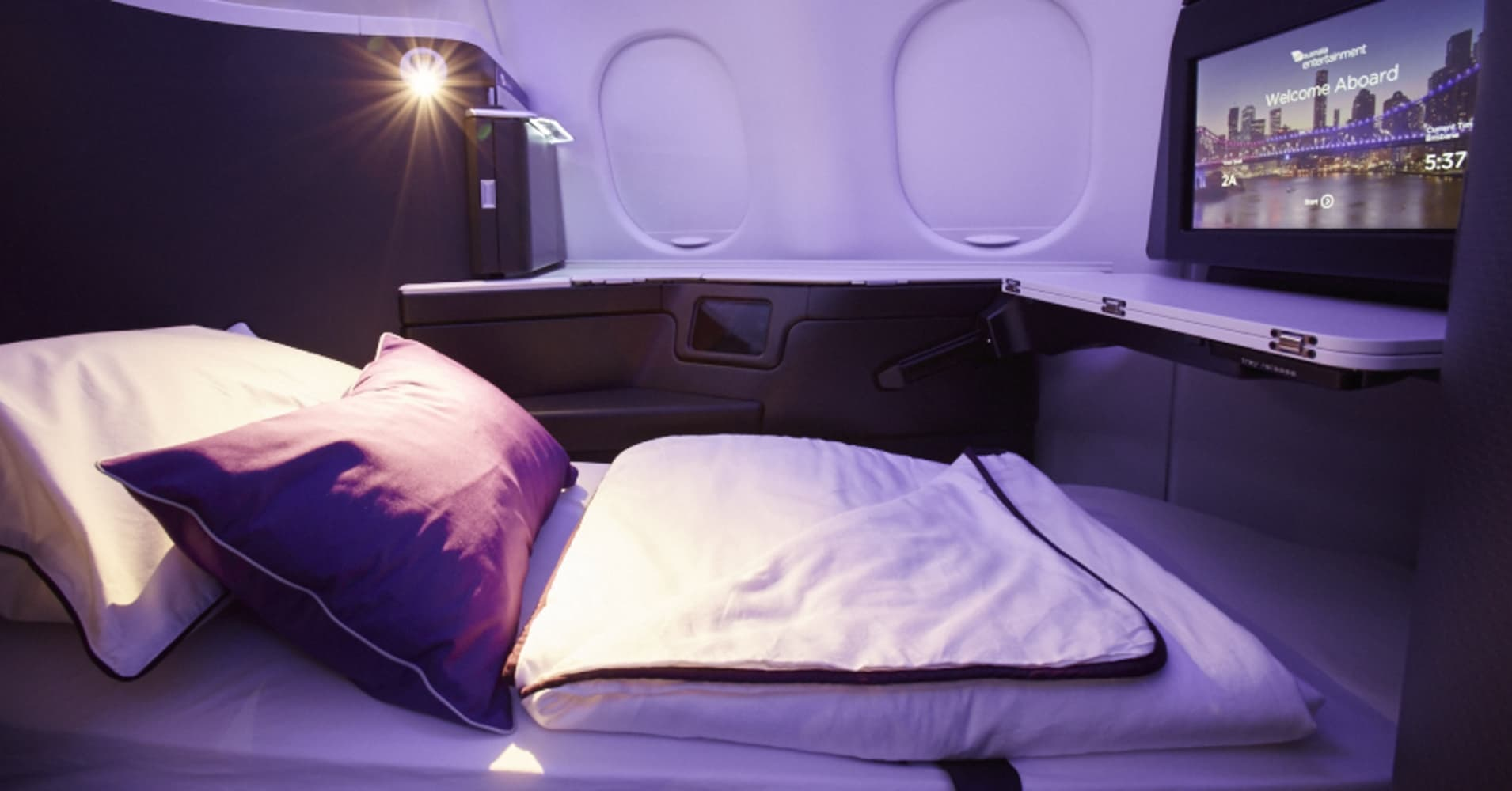 Image result for virgin australia business class lie flat bed
