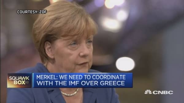 Must coordinate with IMF on Greece: Merkel