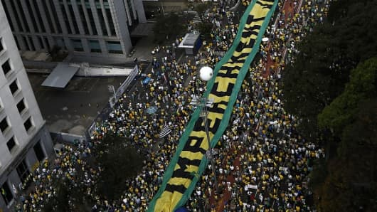 Demonstrators protest against Brazilian President Dilma Rousseff and the ruling Workers Party in Sao Paulo, Brazil.