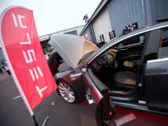 Tesla on display in Santa Monica, Calif.