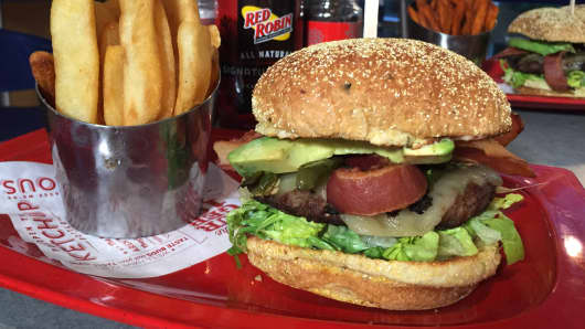 A burger and fries from Red Robin.