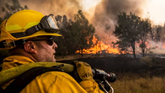 A firefighter in Lake County, California, July 30, 2015.
