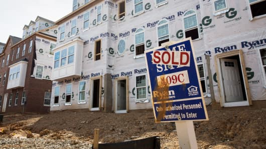 New townhouses under construction in Northeast Washington, D.C.