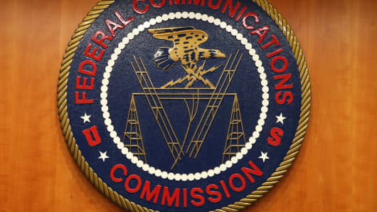 The seal of the Federal Communications Commission at FCC headquarters in Washington.