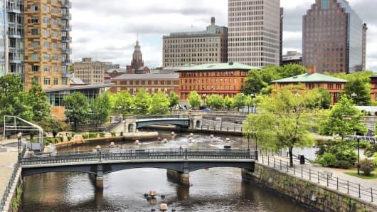 A skyline view of Providence, Rhode Island