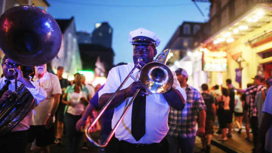 Musicians perform in the French Quarter in New Orleans, Louisiana in May.