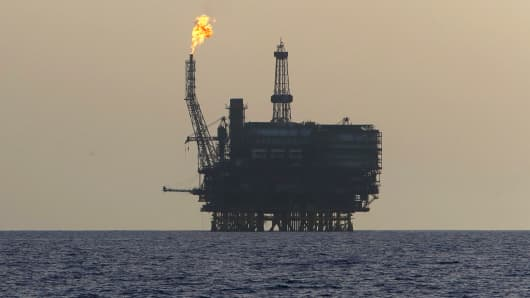 Offshore oil platforms are seen at the Bouri Oil Field off the coast of Libya.