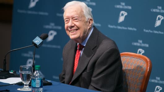 Former President Jimmy Carter discusses his cancer diagnosis during a press conference at the Carter Center on August 20, 2015, in Atlanta. Carter's melanoma spread to his liver and brain. He later underwent immunotherapy treatment. His most recent scan, in June, showed no cancer.