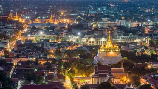 The Wat Saket (Golden Mountain) and Bangkok Grand Palace in Bangkok, Thailand.