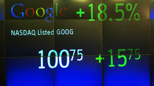 Google's stock price appears on the NASDAQ Marketsite just before the market close, August 19, 2004.