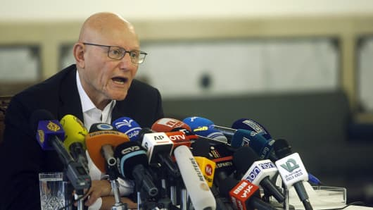 Lebanese Prime Minister Tammam Salam speaks about the ongoing crisis