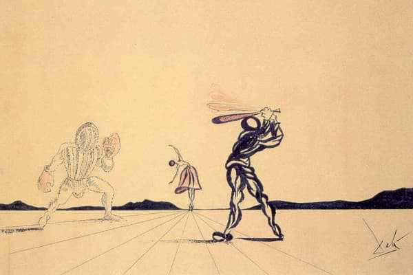 Salvador Dali: Baseball and Ballerina (1947). India ink and watercolor.