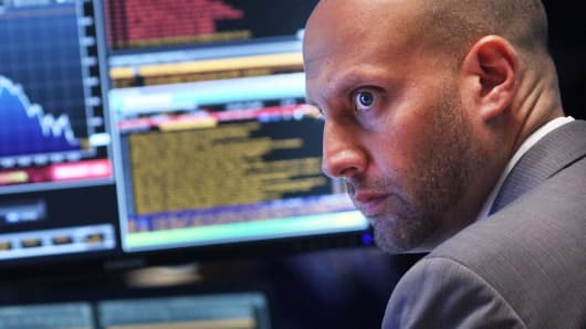A trader works on the floor of the New York Stock Exchange on Aug. 24, 2015, in New York City.