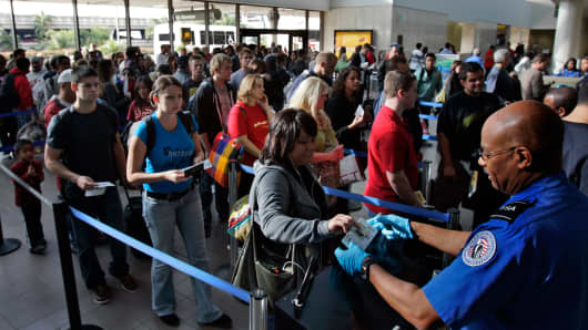 File photo: Travelers form a long security check line that is extended out of departure lounge at Los Angeles airport.