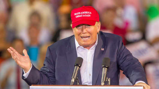 Republican presidential candidate Donald Trump speaking in Mobile, Alabama, August 21, 2015.