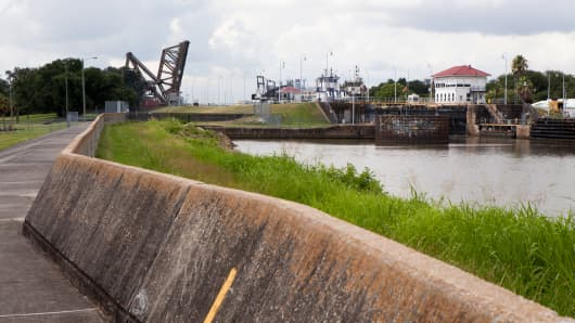 The reinforced levee stands in the Lower Ninth Ward, on July 22, 2015, in New Orleans.