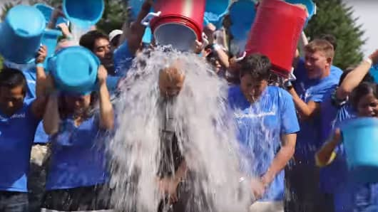 Microsoft executives Satya Nadella and Terry Myerson take the ALS Ice Bucket Challenge.