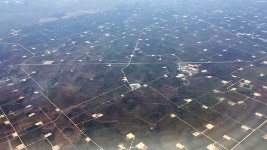 Aerial view of oil fields over west Texas.