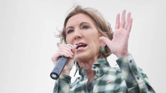Carly Fiorina campaigning in Iowa last June.