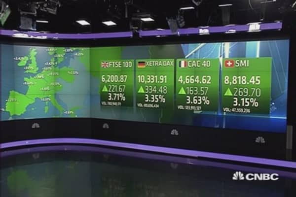 Europe closes sharply higher; US GDP, oil boost hope