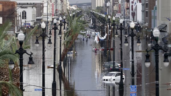 Canal Street is flooded a day after Hurricane Katrina blew through August 30, 2005 in New Orleans, Louisiana.