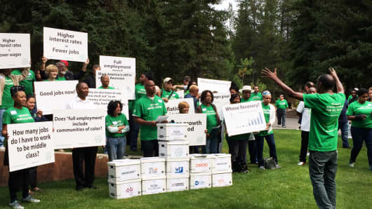 Protest over interest rates at Jackson Hole, Wyoming, August 27, 2015.