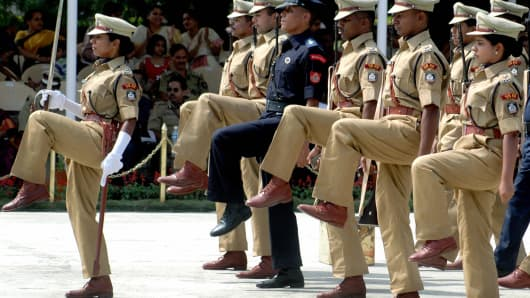 Probationers of the Indian Police Service, whose senior officers also have to take the grueling test, strut their stuff.