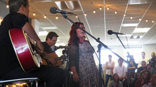 Jo Dee Messina performing at Pandora's headquarters in Oakland, California.