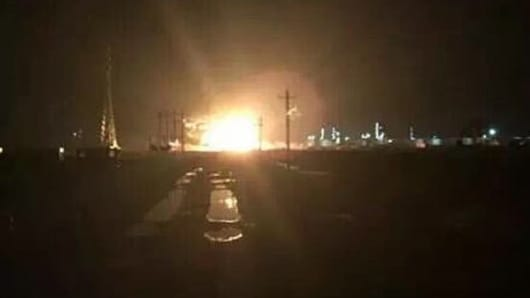 A blast seen and heard in a chemical industry zone in Lijin, Dongying City of Shandong on Aug. 31st, 2015.