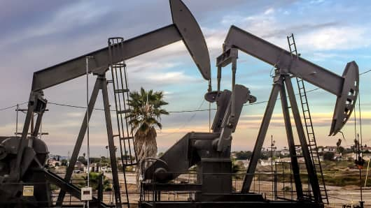Two oil rigs at the Ladeira Heights oil field in Los Angeles.