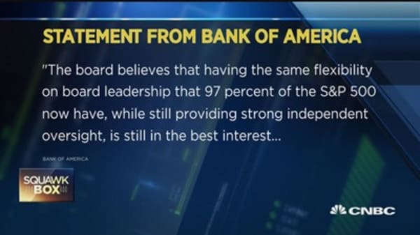 BofA statement on duel leadership role