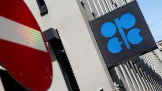 OPEC logo at its headquarters in Vienna, Austria.