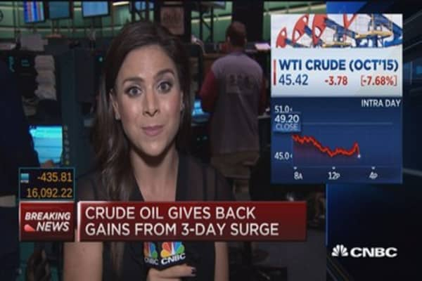 Oil up, oil down ... down
