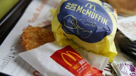 A McDonald's Egg McMuffin and hash browns are displayed at a McDonald's restaurant in Fairfield, Calif.