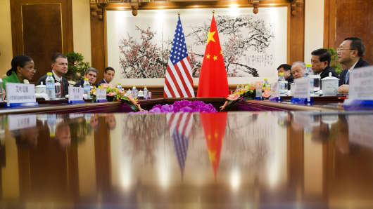 National Security Advisor Susan Rice (left) takes part in talks with Chinese State Councilor Yang Jiechi (right) during their meeting at the Diaoyutai State Guesthouse in Beijing on Aug. 28, 2015.