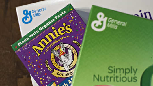 Annie's Inc. pasta is arranged for a photograph alongside General Mills Inc. cereals in a kitchen in Tiskilwa, Illinois.