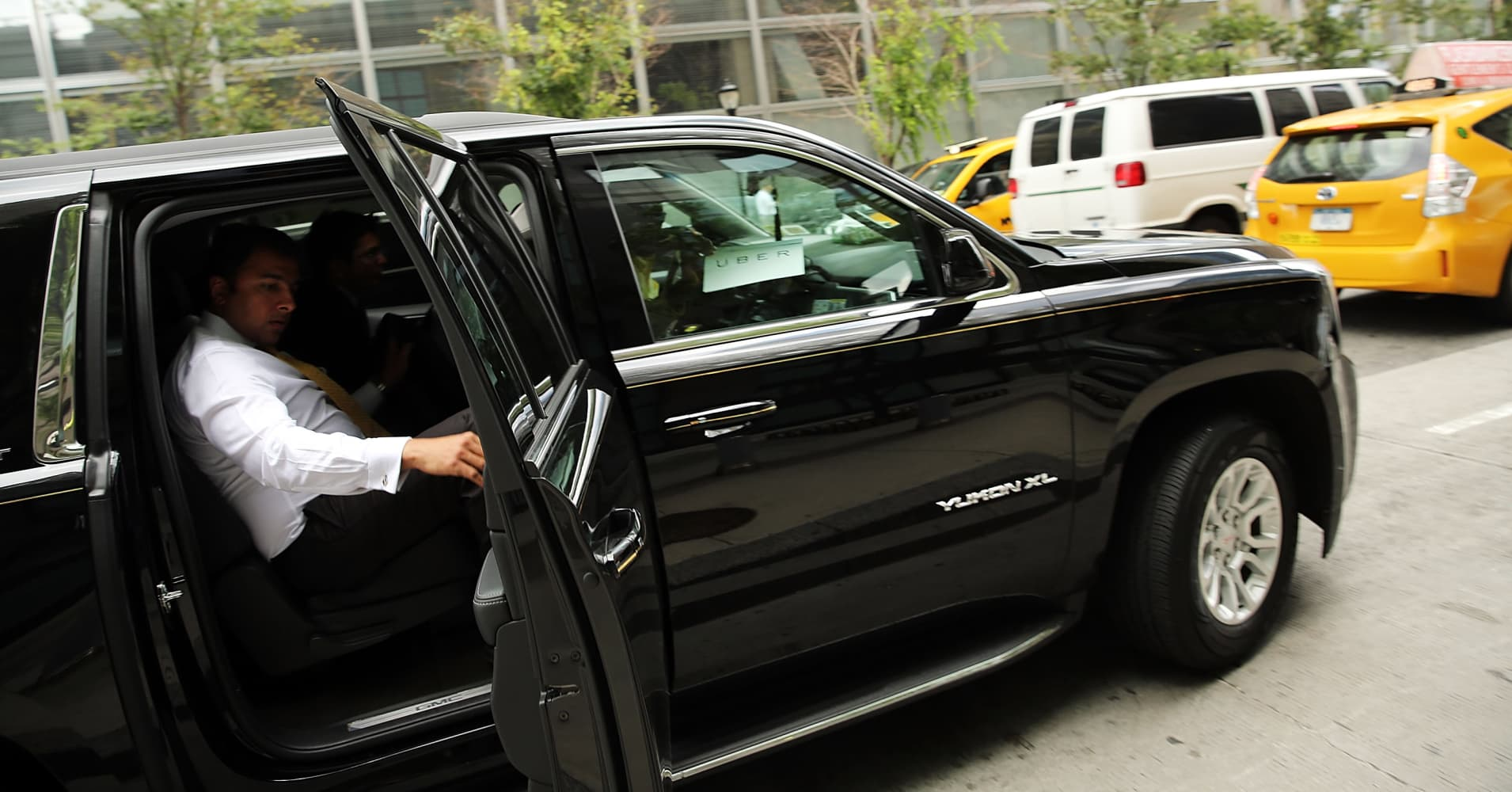 An Uber vehicle is viewed in Manhattan in New York City.